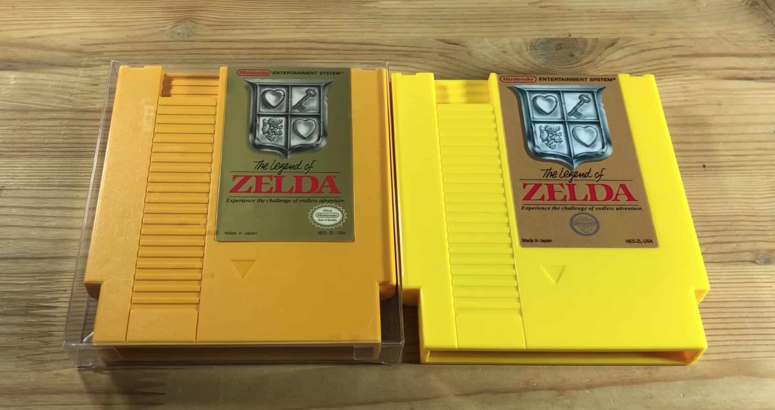 A Picture of A Real vs Fake Legend Of Zelda Test Cartridge