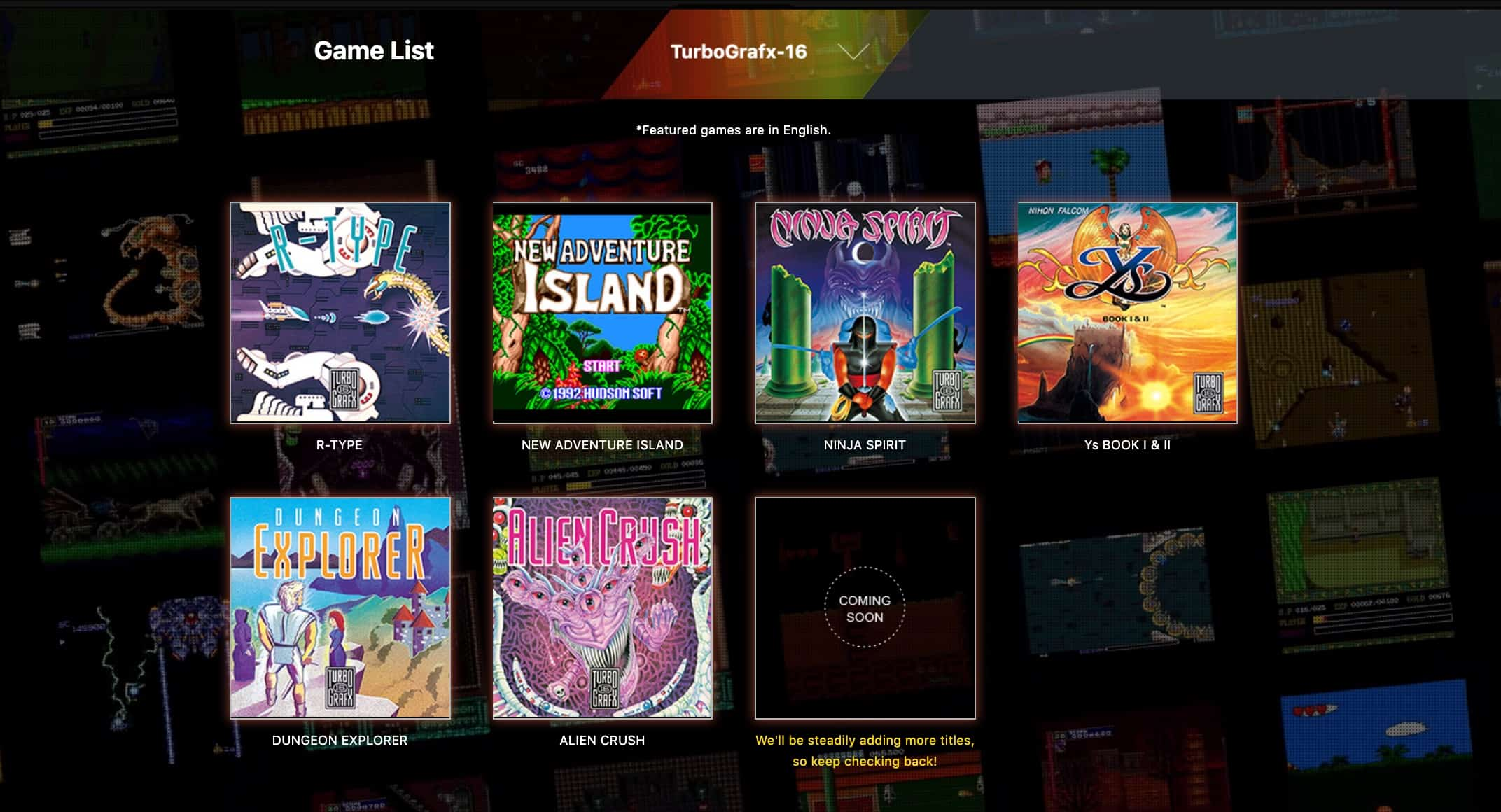 Turbografx 16 mini games list